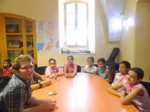 Our intern from North Carolina, Tim Leisman, teaching English